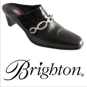 Brighton Leather Croc embossed Mules